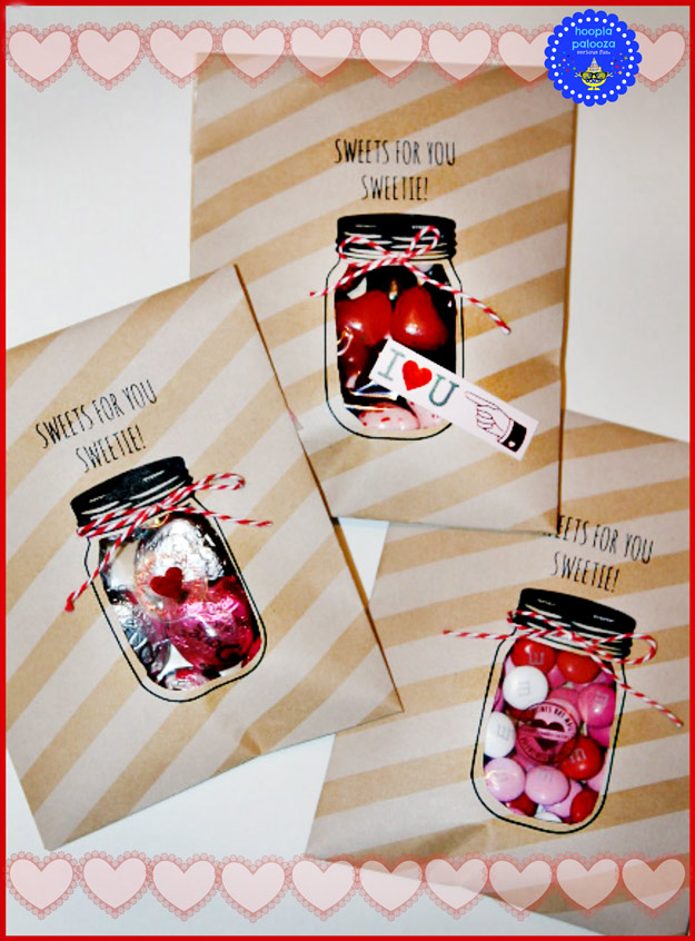 Mason Jar Valentine Gifts and Crafts   DIY Ideas for Valentines Day for Cute Gift Giving and Decor   Mason Jar Valentine Treat Bags   #valentines