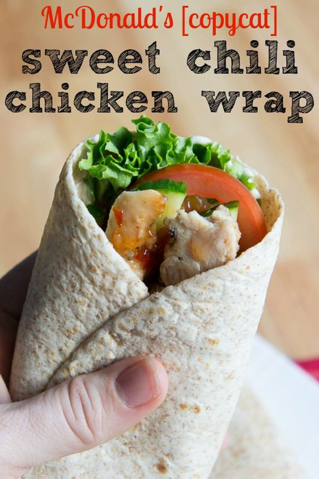 Copycat Recipes From Top Restaurants. Best Recipe Knockoffs from Chipotle, Starbucks, Olive Garden, Cinabbon, Cracker Barrel, Taco Bell, Cheesecake Factory, KFC, Mc Donalds, Red Lobster, Panda Express   McDonald's CopyCat Sweet Chili Chicken Wrap   http://diyjoy.com/copycat-recipes