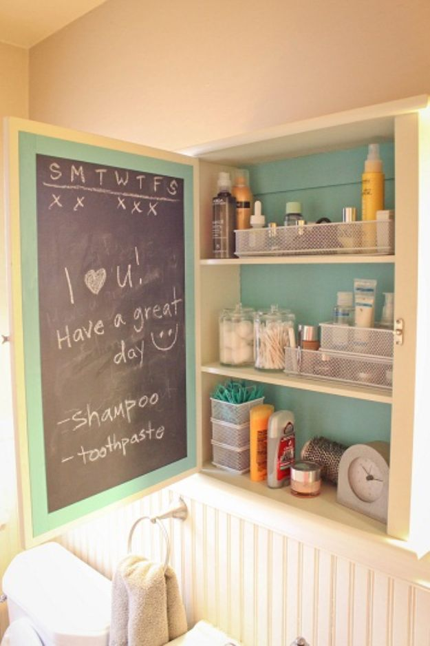 DIY Chalkboard Paint Ideas for Furniture Projects, Home Decor, Kitchen, Bedroom, Signs and Crafts for Teens. | Medicine Cabinet Chalkboard Remodel | http://diyjoy.com/diy-chalkboard-paint-ideas