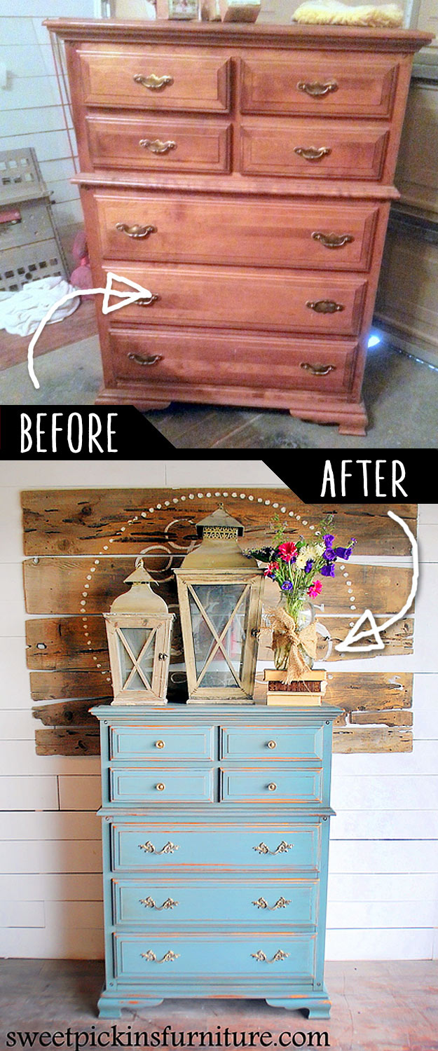 DIY Furniture Makeovers - Refurbished Furniture and Cool Painted Furniture Ideas for Thrift Store Furniture Makeover Projects   Coffee Tables, Dressers and Bedroom Decor, Kitchen   Milk Paint an Old Dresser #diy #furnituremakeover #diyfurniture