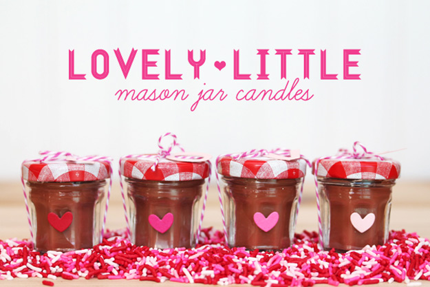 Mason Jar Valentine Gifts and Crafts   DIY Ideas for Valentines Day for Cute Gift Giving and Decor   Mini Mason Jar Chocolate Scented Valentine Candles   #valentines