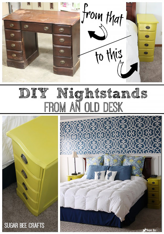 DIY Furniture Hacks   Night Stands from a Desk   Cool Ideas for Creative Do It Yourself Furniture Made From Things You Might Not Expect #diy