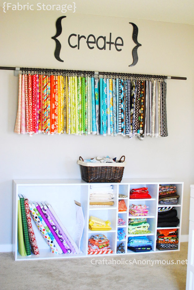 DIY Craft Room Ideas and Craft Room Organization Projects - Old Book Shelf Fabric Organizer - Cool Ideas for Do It Yourself Craft Storage - fabric, paper, pens, creative tools, crafts supplies and sewing notions | http://diyjoy.com/craft-room-organization