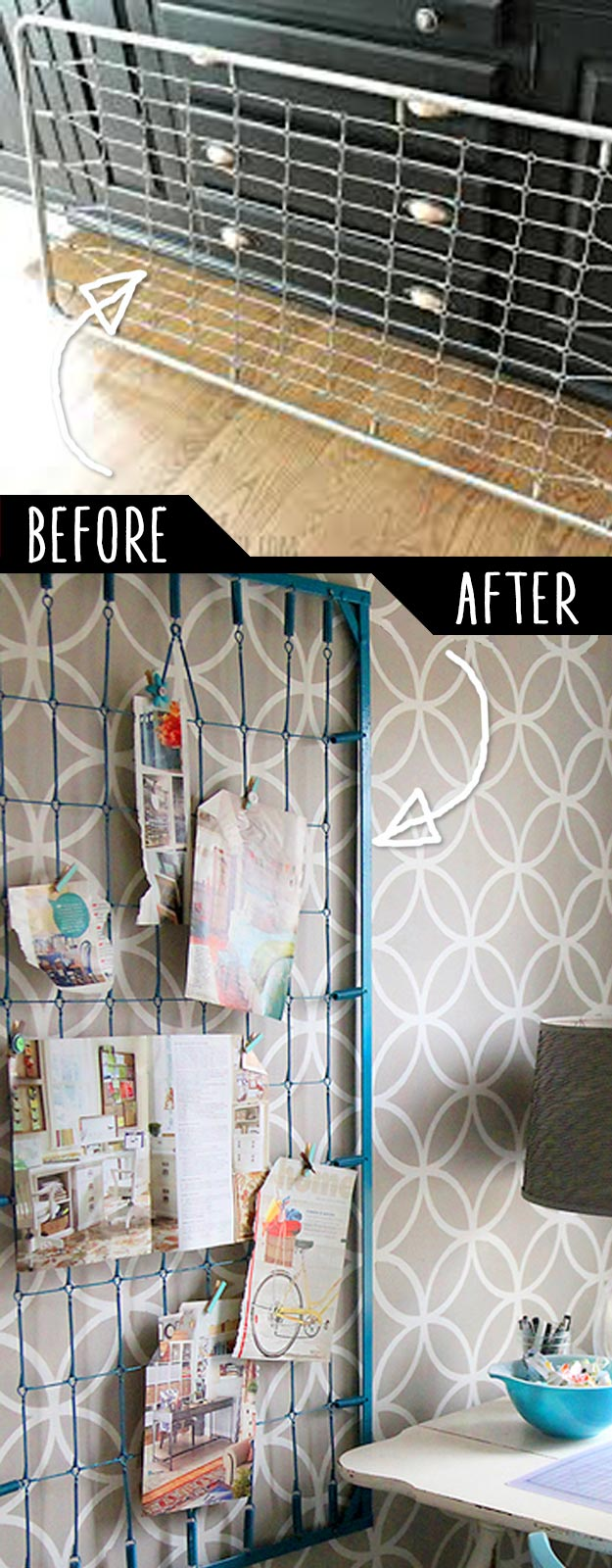 DIY Furniture Hacks   Old Crib Spring to Wall Memo Board   Cool Ideas for Creative Do It Yourself Furniture Made From Things You Might Not Expect #diy