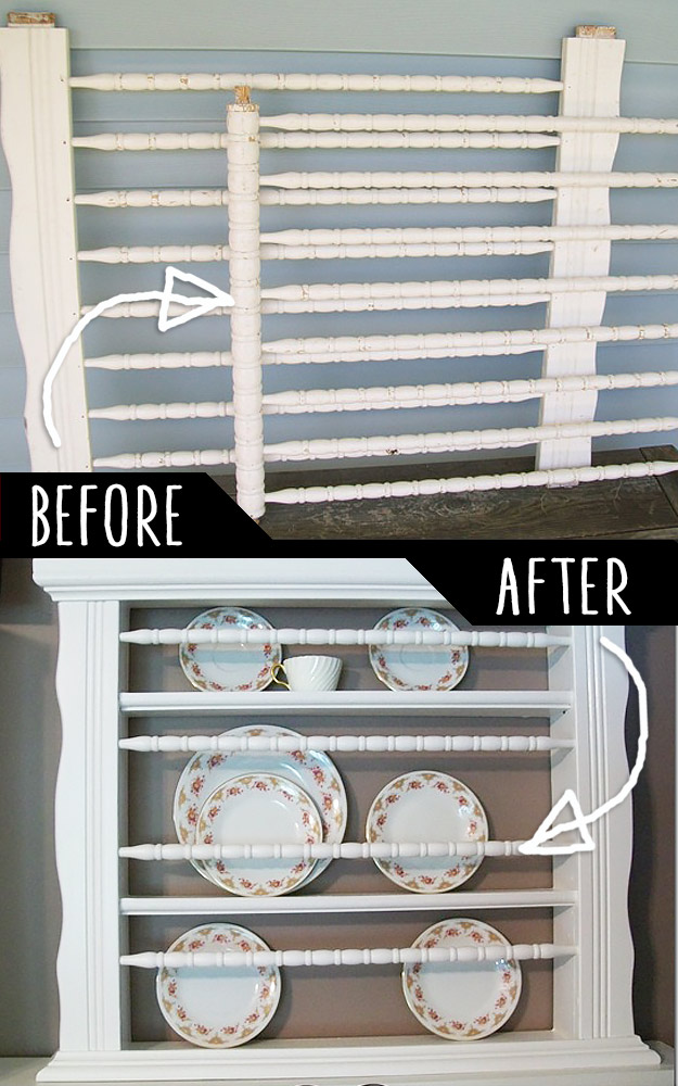 DIY Furniture Hacks | Old Crib To Plate Holder | Cool Ideas for Creative Do It Yourself Furniture Made From Things You Might Not Expect - http://diyjoy.com/diy-furniture-hacks