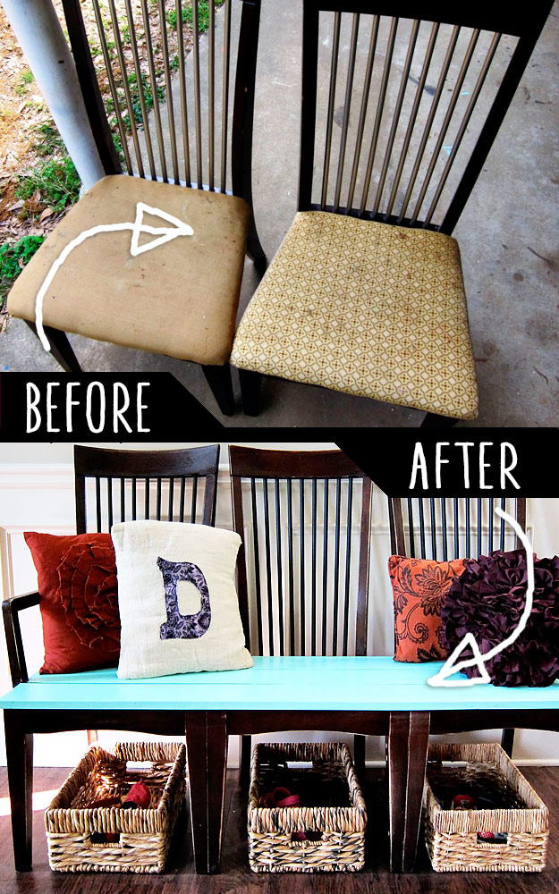 DIY Furniture Hacks   Old Kitchen Chairs Hack   Cool Ideas for Creative Do It Yourself Furniture   Cheap Home Decor Ideas for Bedroom, Bathroom, Living Room, Kitchen #diy