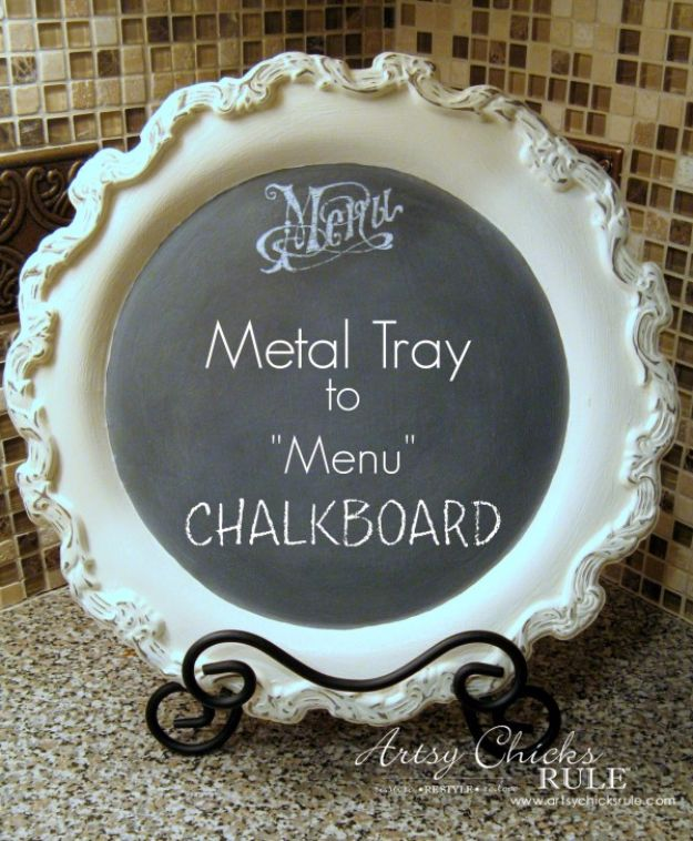DIY Chalkboard Paint Ideas for Furniture Projects, Home Decor, Kitchen, Bedroom, Signs and Crafts for Teens. | Old Metal Tray Repurposed with Chalk Paint | http://diyjoy.com/diy-chalkboard-paint-ideas