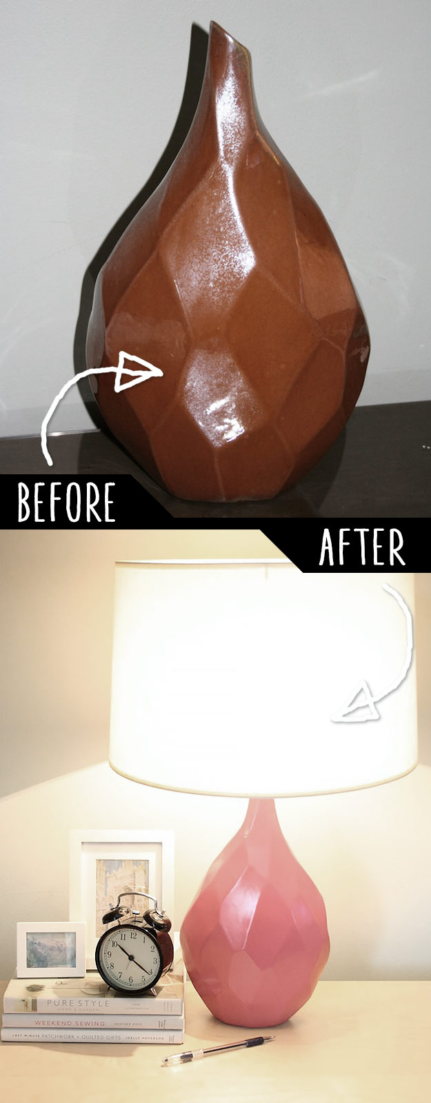 DIY Furniture Hacks   Old Unused Vase into an Adorable Table Lamp   Cool Ideas for Creative Do It Yourself Furniture   Cheap Home Decor Ideas for Bedroom, Bathroom, Living Room, Kitchen #diy