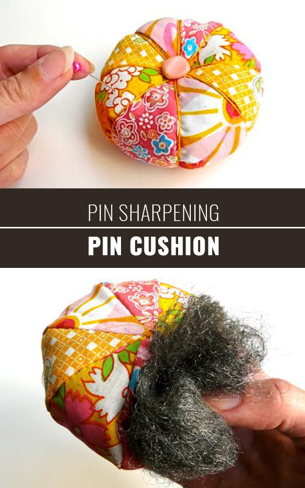 Sewing Hacks | Best Tips and Tricks for Sewing Patterns, Projects, Machines, Hand Sewn Items. Clever Ideas for Beginners and Even Experts | Pin Sharpening Pin Cushion