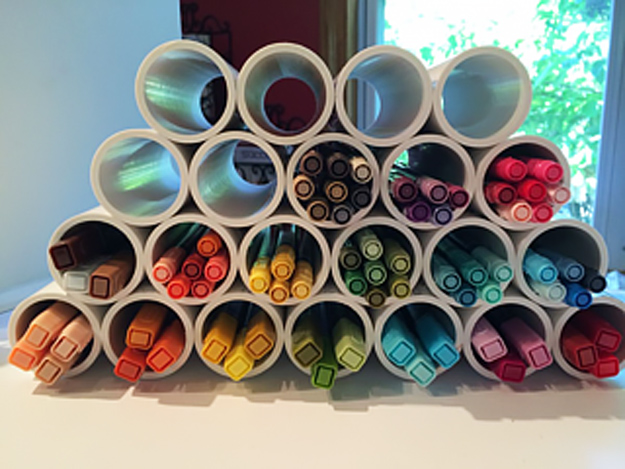 DIY Craft Room Ideas and Craft Room Organization Projects - PVC Pipe Marker Storage - Cool Ideas for Do It Yourself Craft Storage - fabric, paper, pens, creative tools, crafts supplies and sewing notions