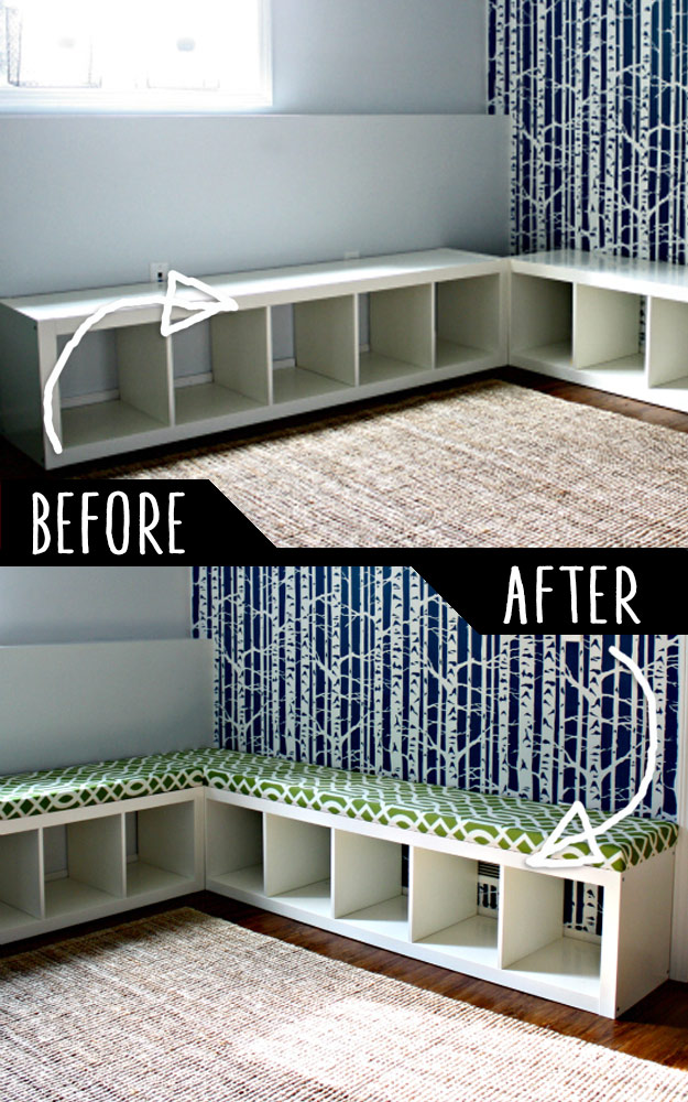 DIY Furniture Hacks   Padded Bench Out of Bookshelf   Cool Ideas for Creative Do It Yourself Furniture Made From Things You Might Not Expect #diy