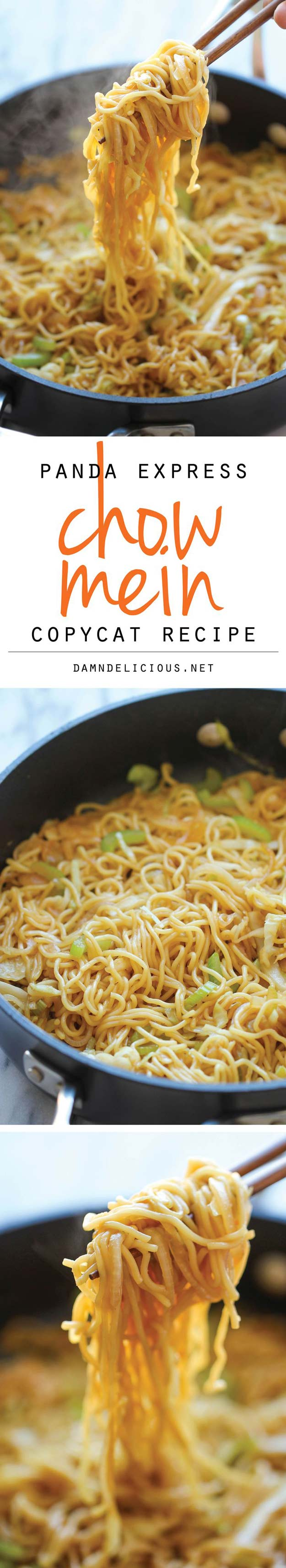 Copycat Recipes From Top Restaurants. Best Recipe Knockoffs from Chipotle, Starbucks, Olive Garden, Cinabbon, Cracker Barrel, Taco Bell, Cheesecake Factory, KFC, Mc Donalds, Red Lobster, Panda Express   Panda Express Chow Mein Copycat   http://diyjoy.com/copycat-recipes