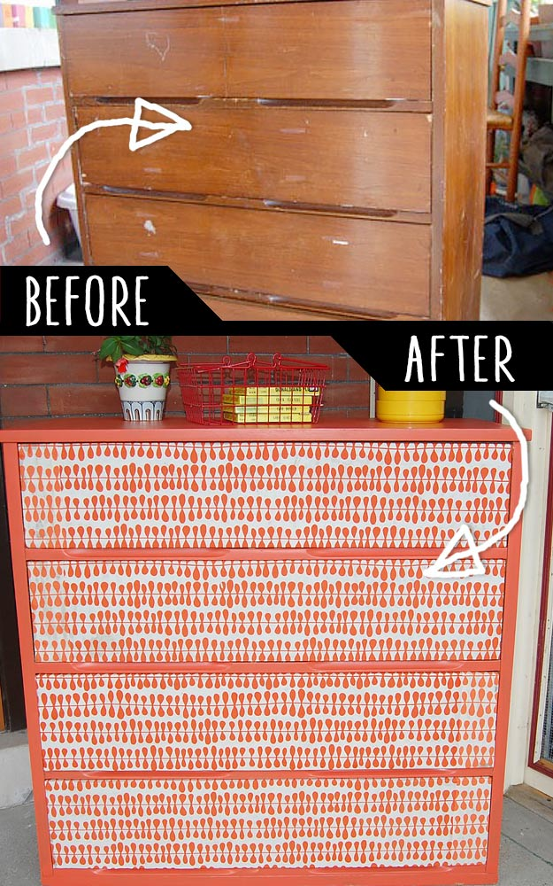 DIY Furniture Makeovers - Refurbished Furniture and Cool Painted Furniture Ideas for Thrift Store Furniture Makeover Projects   Coffee Tables, Dressers and Bedroom Decor, Kitchen   Paper Sourced Cheap Chest #diy #furnituremakeover #diyfurniture