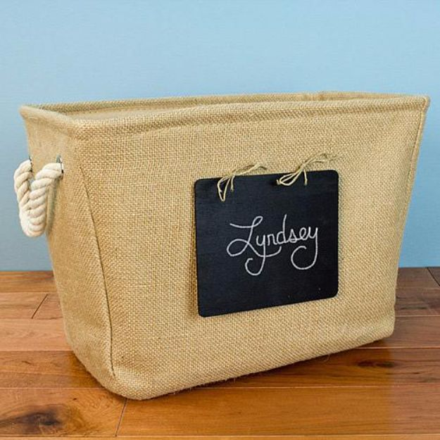 DIY Chalkboard Paint Ideas for Furniture Projects, Home Decor, Kitchen, Bedroom, Signs and Crafts for Teens. | Personalized Chalkboard Burlap Tote Storage | http://diyjoy.com/diy-chalkboard-paint-ideas