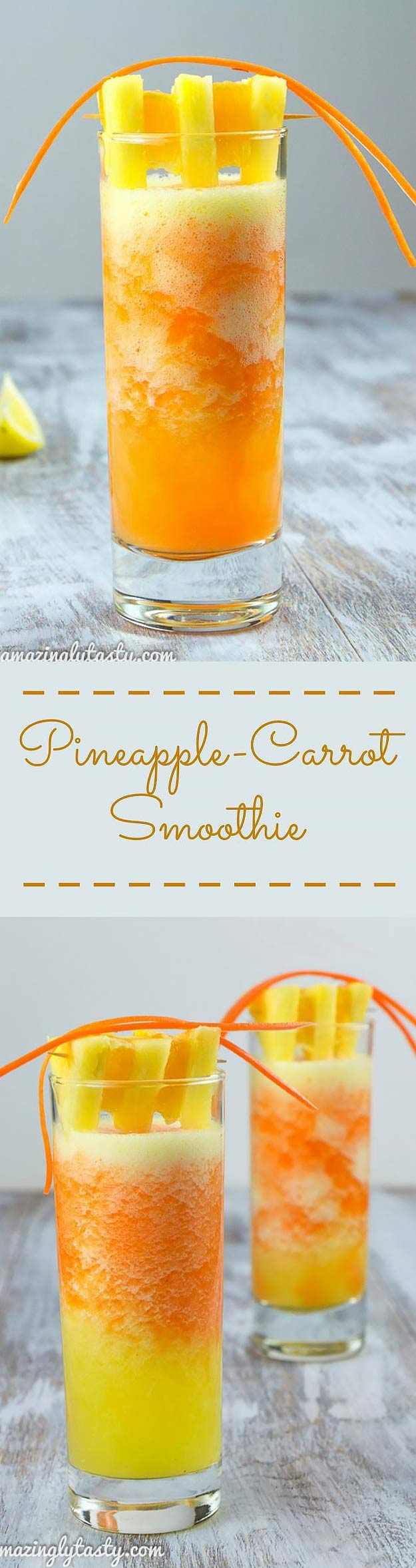 Healthy smoothie recipes and easy ideas perfect for breakfast, energy. Low calorie and high protein recipes for weightloss and to lose weight. Simple homemade recipe ideas that kids love. | Pineapple Carrot Orange Smoothie #smoothies #recipess