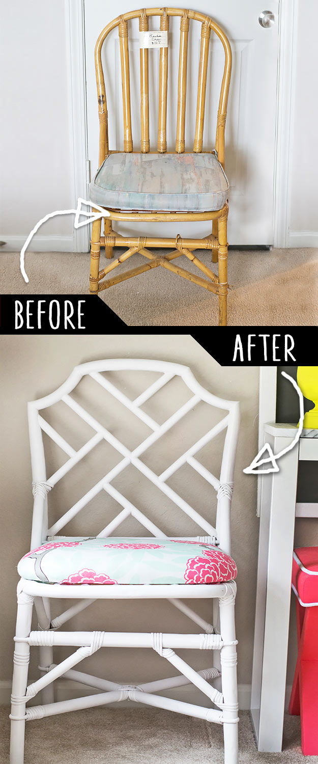 DIY Furniture Makeovers - Refurbished Furniture and Cool Painted Furniture Ideas for Thrift Store Furniture Makeover Projects   Coffee Tables, Dressers and Bedroom Decor, Kitchen   Plain Rattan Chair to Chinese Chippendale Chair #diy #furnituremakeover #diyfurniture