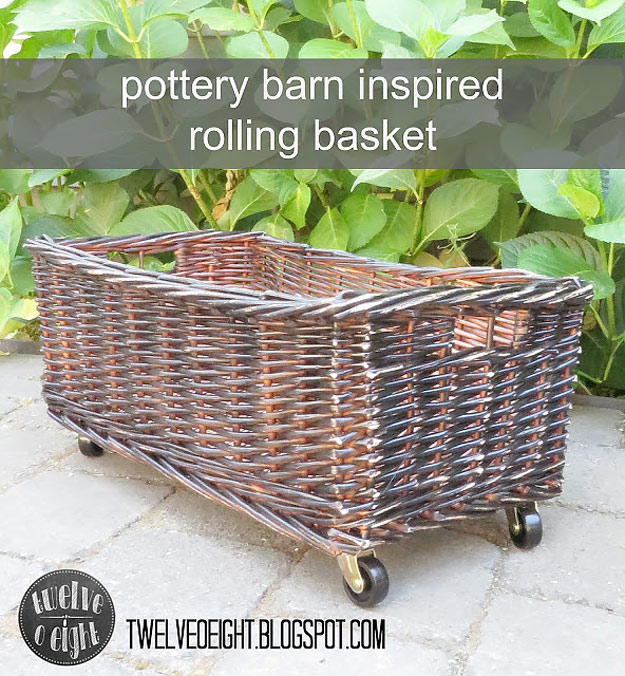 DIY Furniture Store KnockOffs - Do It Yourself Furniture Projects Inspired by Pottery Barn, Restoration Hardware, West Elm. Tutorials and Step by Step Instructions | Pottery Barn Inspired Rolling Basket #diyfurniture #diyhomedecor #copycats