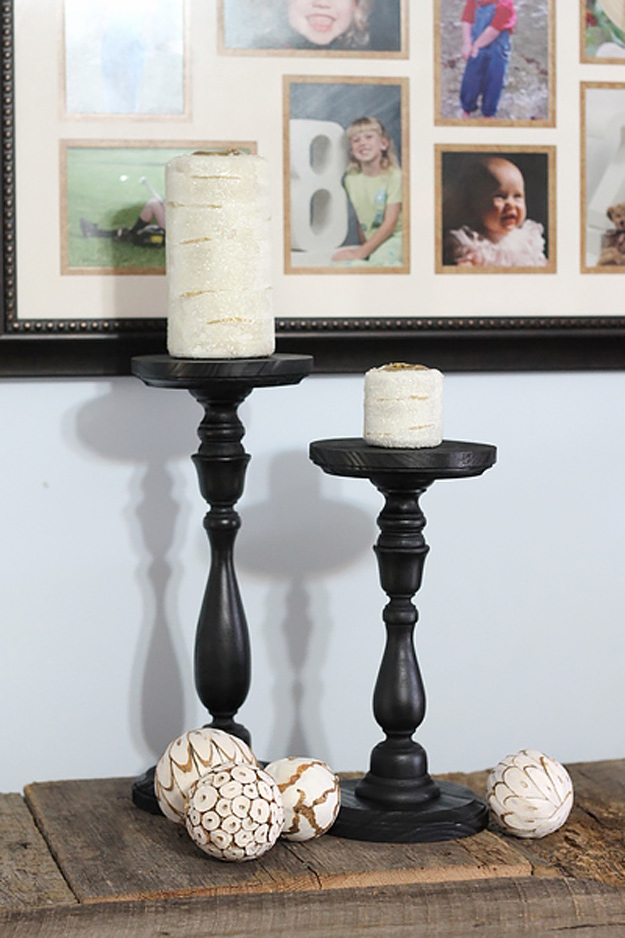 DIY Furniture Store KnockOffs - Do It Yourself Furniture Projects Inspired by Pottery Barn, Restoration Hardware, West Elm. Tutorials and Step by Step Instructions | Pottery Barn Knock Off Candle Holders and Candles #diyfurniture #diyhomedecor #copycats