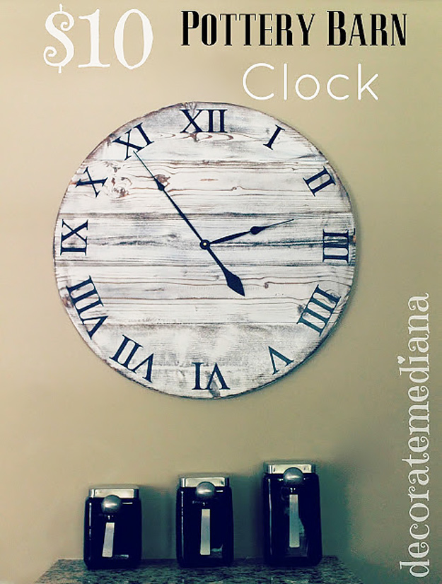 DIY Furniture Store KnockOffs - Do It Yourself Furniture Projects Inspired by Pottery Barn, Restoration Hardware, West Elm. Tutorials and Step by Step Instructions   Pottery Barn Knock Off Clock #diyfurniture #diyhomedecor #copycats
