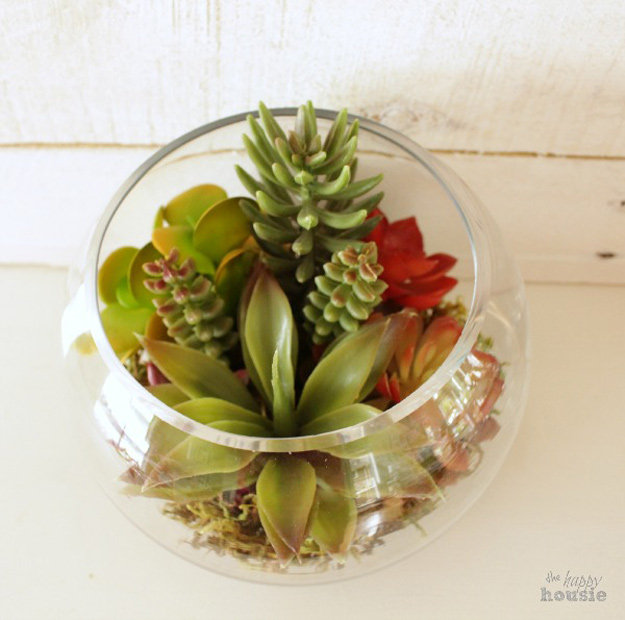 DIY Furniture Store KnockOffs - Do It Yourself Furniture Projects Inspired by Pottery Barn, Restoration Hardware, West Elm. Tutorials and Step by Step Instructions | Pottery Barn Knock Off Faux Succulent Arrangement #diyfurniture #diyhomedecor #copycats