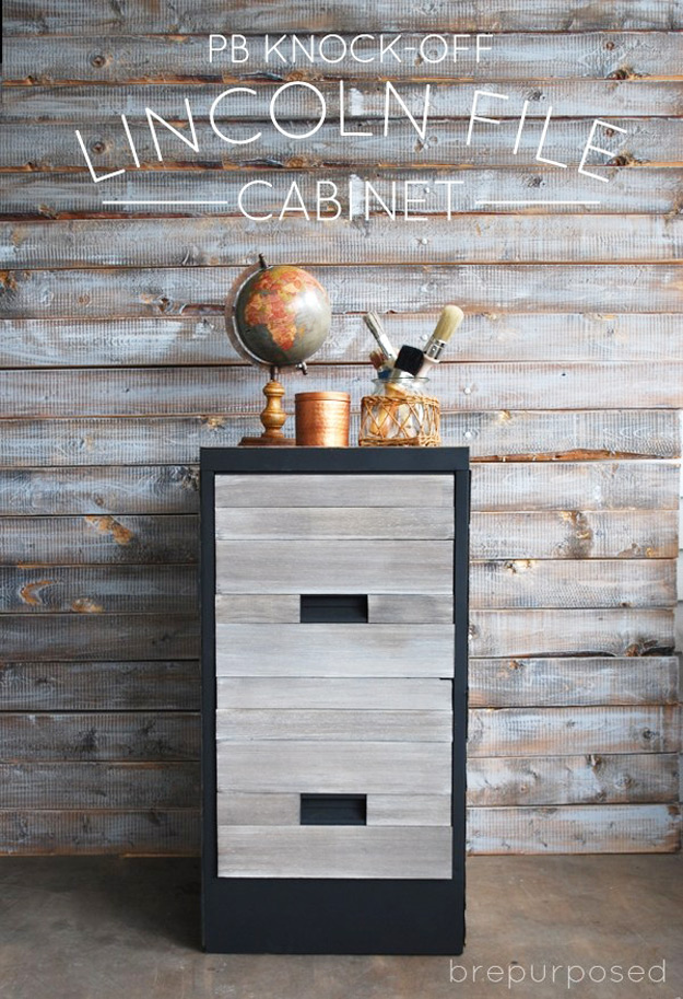 DIY Furniture Store KnockOffs - Do It Yourself Furniture Projects Inspired by Pottery Barn, Restoration Hardware, West Elm. Tutorials and Step by Step Instructions   Pottery Barn Knock-Off File Cabinet #diyfurniture #diyhomedecor #copycats