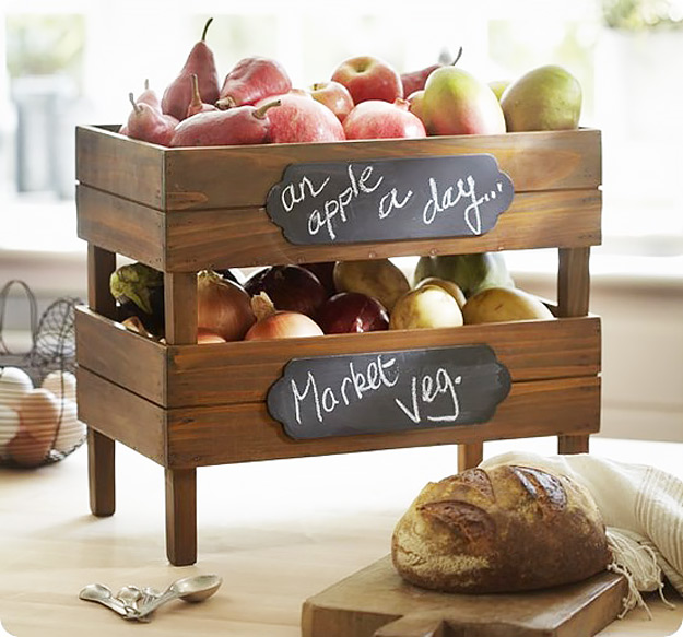 DIY Furniture Store KnockOffs - Do It Yourself Furniture Projects Inspired by Pottery Barn, Restoration Hardware, West Elm. Tutorials and Step by Step Instructions   Pottery Barn Stackable Fruit and Vegetable Crates #diyfurniture #diyhomedecor #copycats