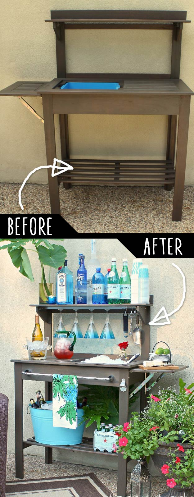 DIY Furniture Hacks | Potting Bench Turned Outdoor Bar | Cool Ideas for Creative Do It Yourself Furniture Made From Things You Might Not Expect  #diy