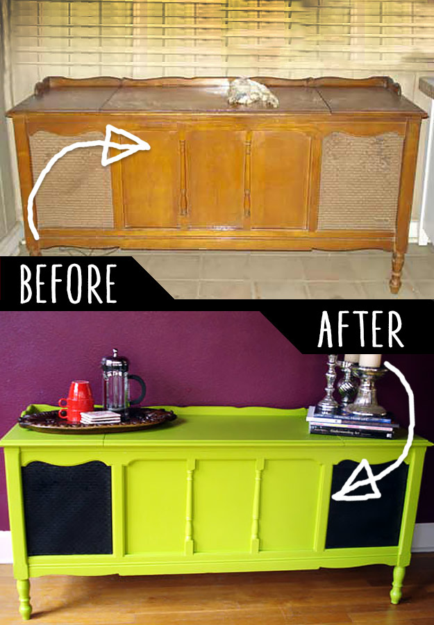DIY Furniture Makeovers - Refurbished Furniture and Cool Painted Furniture Ideas for Thrift Store Furniture Makeover Projects   Coffee Tables, Dressers and Bedroom Decor, Kitchen   Radio Table #diy #furnituremakeover #diyfurniture