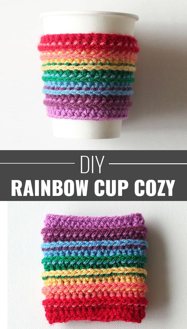 76 Crafts To Make and Sell - Easy DIY Ideas for Cheap Things To Sell on Etsy, Online and for Craft Fairs. Make Money with These Homemade Crafts for Teens, Kids, Christmas, Summer, Mother's Day Gifts.   Rainbow Crochet Cup Cozy  diyjoy.com/crafts-to-make-and-sell