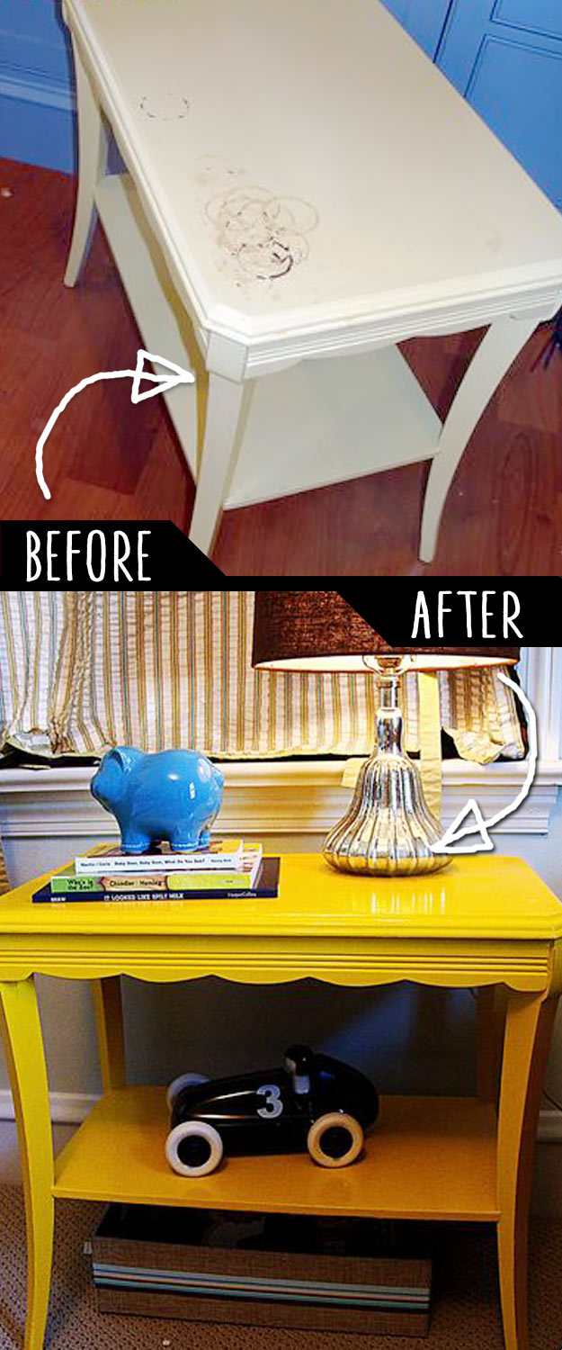 DIY Furniture Makeovers - Refurbished Furniture and Cool Painted Furniture Ideas for Thrift Store Furniture Makeover Projects   Coffee Tables, Dressers and Bedroom Decor, Kitchen   Reading Side Table Rehab #diy #furnituremakeover #diyfurniture