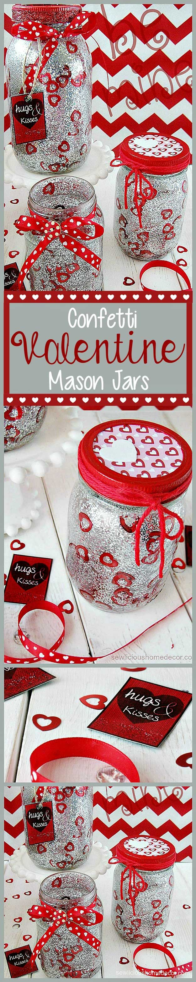 Mason Jar Valentine Gifts and Crafts   DIY Ideas for Valentines Day for Cute Gift Giving and Decor   Red Valentine Jars with Glitter and Confetti   #valentines