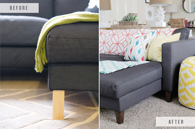 DIY Furniture Makeovers - Refurbished Furniture and Cool Painted Furniture Ideas for Thrift Store Furniture Makeover Projects | Coffee Tables, Dressers and Bedroom Decor, Kitchen | Replacing legs on IKEA Couch #diy #furnituremakeover #diyfurniture