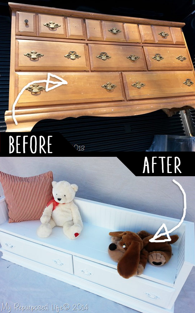 DIY Furniture Hacks   Repurposed Dresser Bench   Cool Ideas for Creative Do It Yourself Furniture Made From Things You Might Not Expect