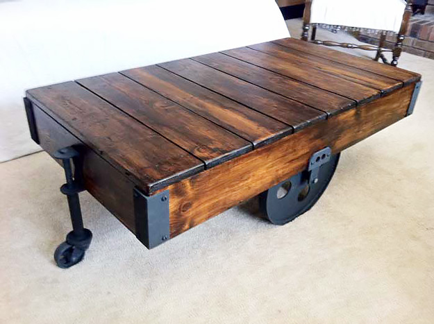 DIY Furniture Store KnockOffs - Do It Yourself Furniture Projects Inspired by Pottery Barn, Restoration Hardware, West Elm. Tutorials and Step by Step Instructions | Restoration Hardware DIY Factory Cart Coffee Table #diyfurniture #diyhomedecor #copycats