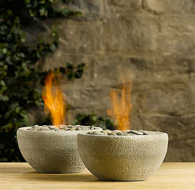 DIY Furniture Store KnockOffs - Do It Yourself Furniture Projects Inspired by Pottery Barn, Restoration Hardware, West Elm. Tutorials and Step by Step Instructions | Restoration Hardware DIY table top river rock fire bowls #diyfurniture #diyhomedecor #copycats