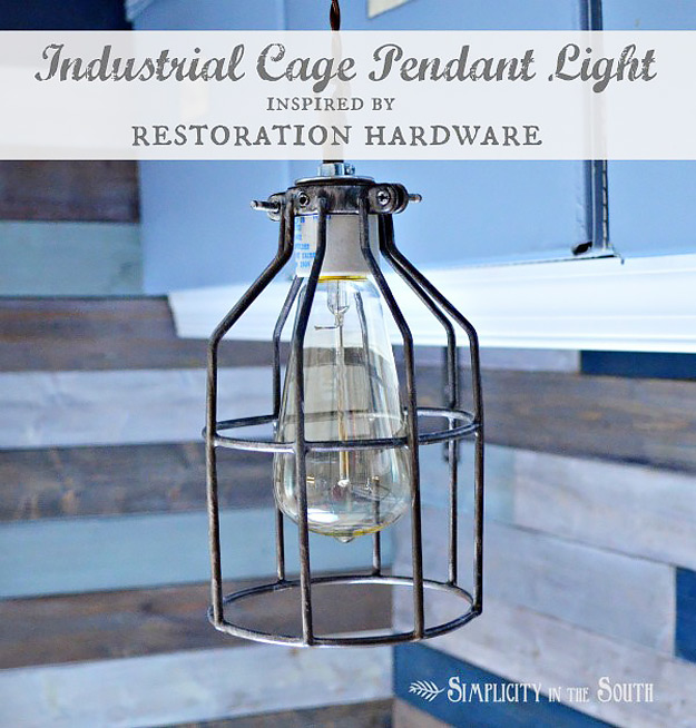 DIY Furniture Store KnockOffs - Do It Yourself Furniture Projects Inspired by Pottery Barn, Restoration Hardware, West Elm. Tutorials and Step by Step Instructions   Restoration Hardware Inspired Industrial Pendant Light #diyfurniture #diyhomedecor #copycats