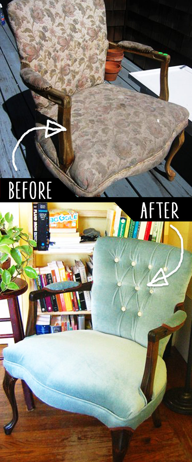 DIY Furniture Makeovers - Refurbished Furniture and Cool Painted Furniture Ideas for Thrift Store Furniture Makeover Projects | Coffee Tables, Dressers and Bedroom Decor, Kitchen | Reupholstered Chair #diy #furnituremakeover #diyfurniture