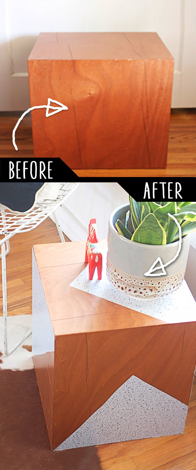 DIY Furniture Makeovers - Refurbished Furniture and Cool Painted Furniture Ideas for Thrift Store Furniture Makeover Projects | Coffee Tables, Dressers and Bedroom Decor, Kitchen | Revamped Geometric Side Table #diy #furnituremakeover #diyfurniture