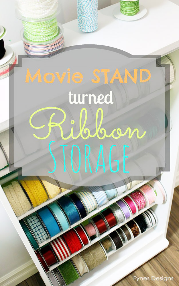 DIY Craft Room Ideas and Craft Room Organization Projects - Ribbon Storage Rack - Cool Ideas for Do It Yourself Craft Storage - fabric, paper, pens, creative tools, crafts supplies and sewing notions | http://diyjoy.com/craft-room-organization