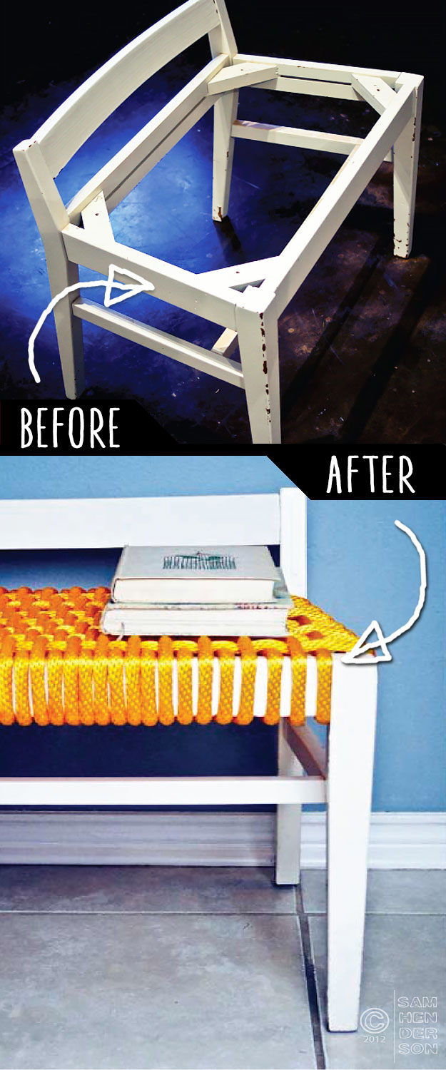 DIY Furniture Makeovers - Refurbished Furniture and Cool Painted Furniture Ideas for Thrift Store Furniture Makeover Projects   Coffee Tables, Dressers and Bedroom Decor, Kitchen   Roping Style Discard Bench Makeover #diy #furnituremakeover #diyfurniture