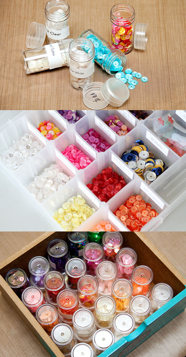 DIY Craft Room Ideas and Craft Room Organization Projects - Sequin Storage - Cool Ideas for Do It Yourself Craft Storage - fabric, paper, pens, creative tools, crafts supplies and sewing notions