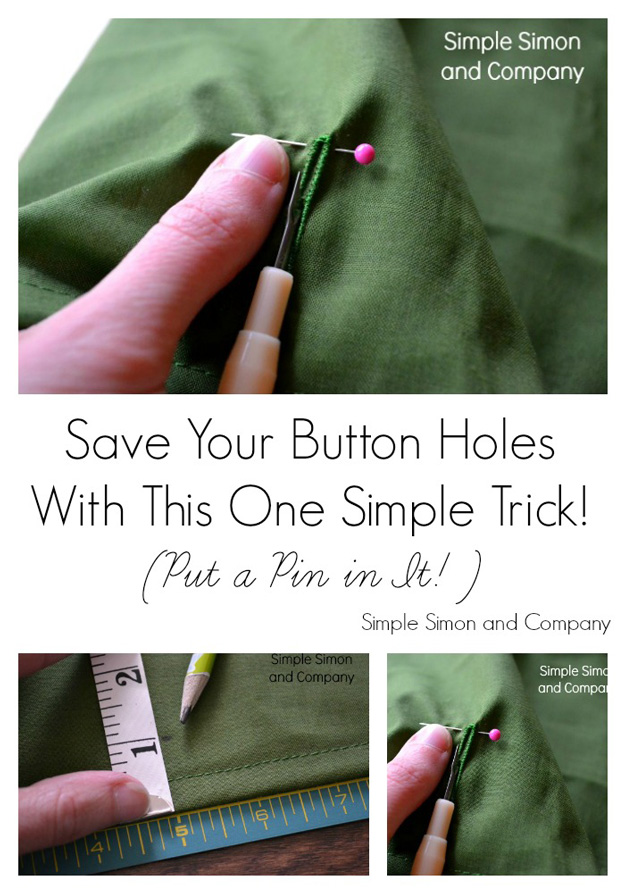 Sewing Hacks   Best Tips and Tricks for Sewing Patterns, Projects, Machines, Hand Sewn Items. Clever Ideas for Beginners and Even Experts   Sewing Tip: Pin The Button Hole