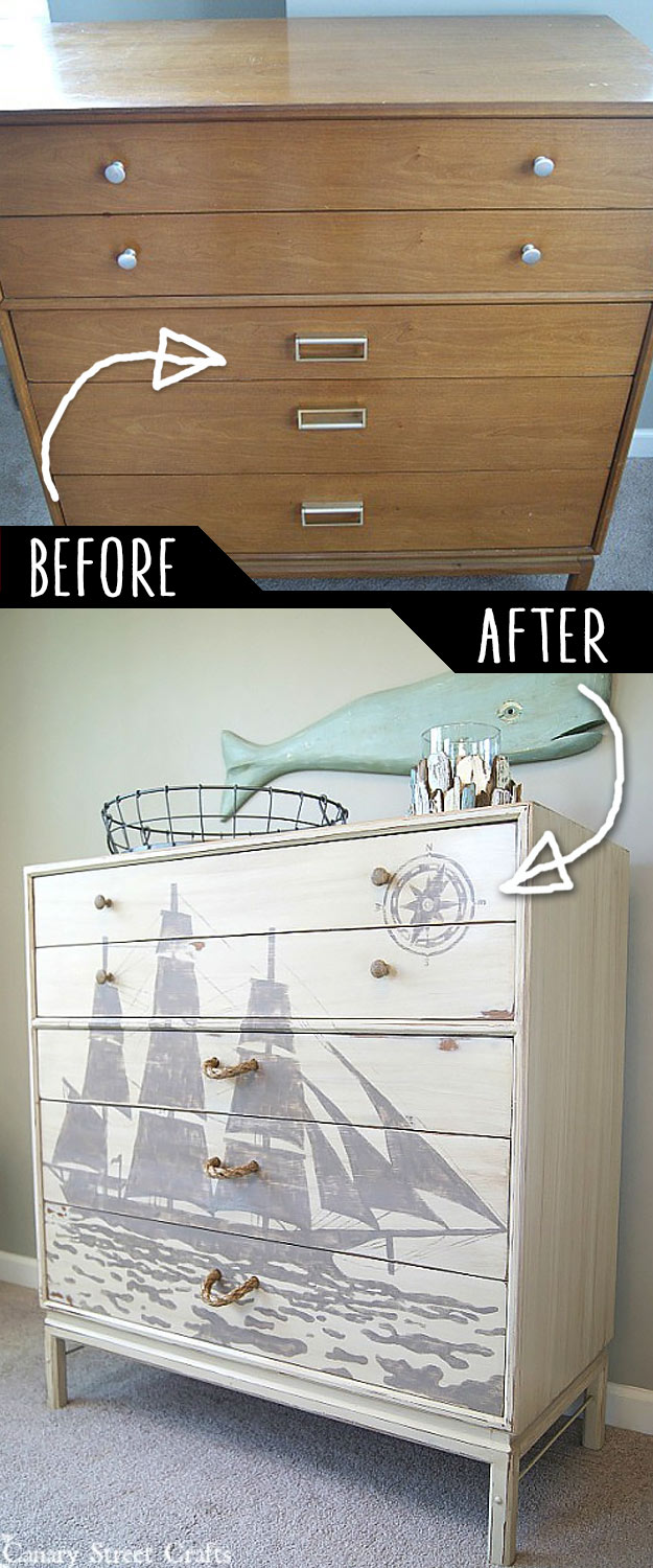 DIY Furniture Makeovers - Refurbished Furniture and Cool Painted Furniture Ideas for Thrift Store Furniture Makeover Projects | Coffee Tables, Dressers and Bedroom Decor, Kitchen | Ship Silhouette Chest of Drawers Makeover #diy #furnituremakeover #diyfurniture