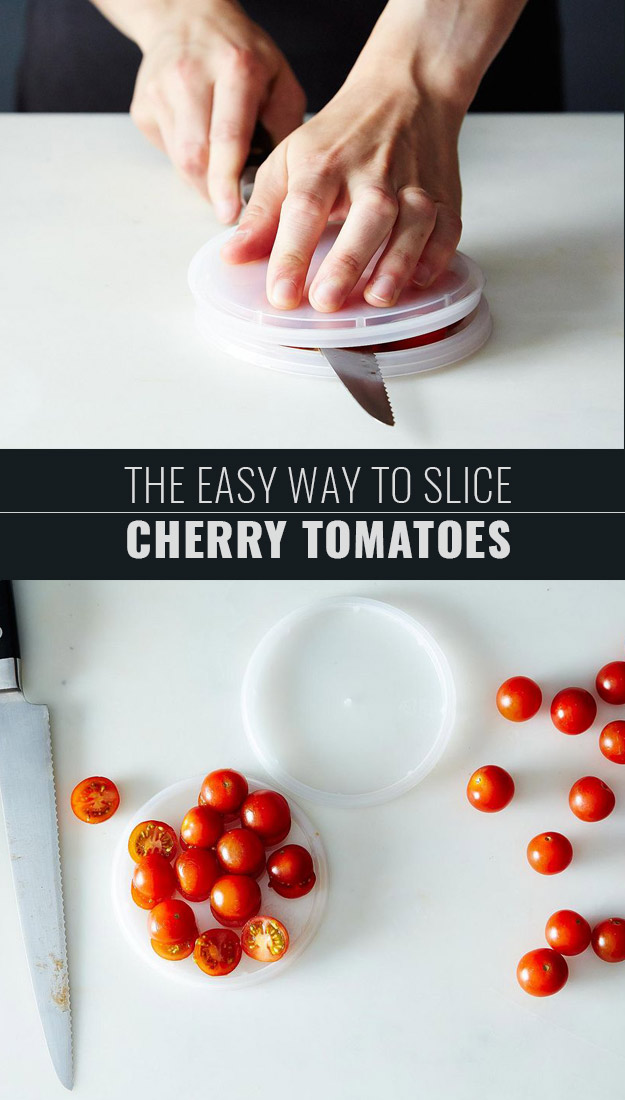 Coolest Cooking Hacks, Tips and Tricks for Easy Meal Prep, Recipe Shortcuts and Quick Ideas for Food |  Slice Cherry Tomatoes The Easy Way  | http://cooking-tips-diy-kitchen-hacks