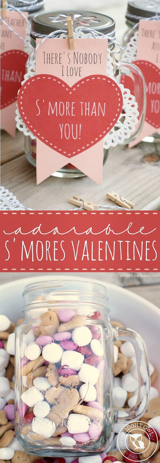 Mason Jar Valentine Gifts and Crafts   DIY Ideas for Valentines Day for Cute Gift Giving and Decor   S'mores Valentines   #valentines