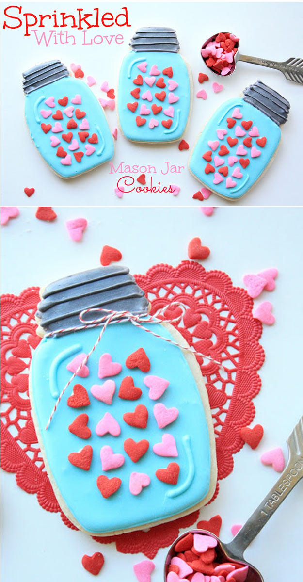 Mason Jar Valentine Gifts and Crafts | DIY Ideas for Valentines Day for Cute Gift Giving and Decor | Sprinkled With Love Mason Jar Cookies | http://diyjoy.com/mason-jar-valentine-crafts