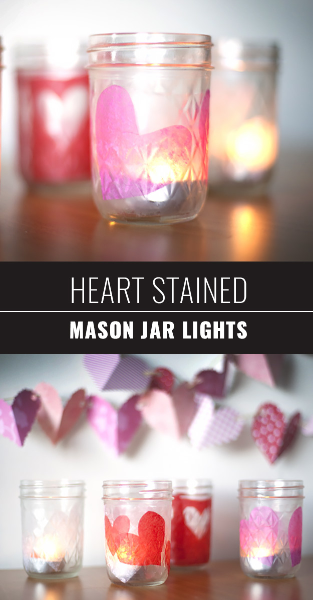Mason Jar Valentine Gifts and Crafts | DIY Ideas for Valentines Day for Cute Gift Giving and Decor | Heart Stained Mason Jar Lights | http://diyjoy.com/mason-jar-valentine-crafts