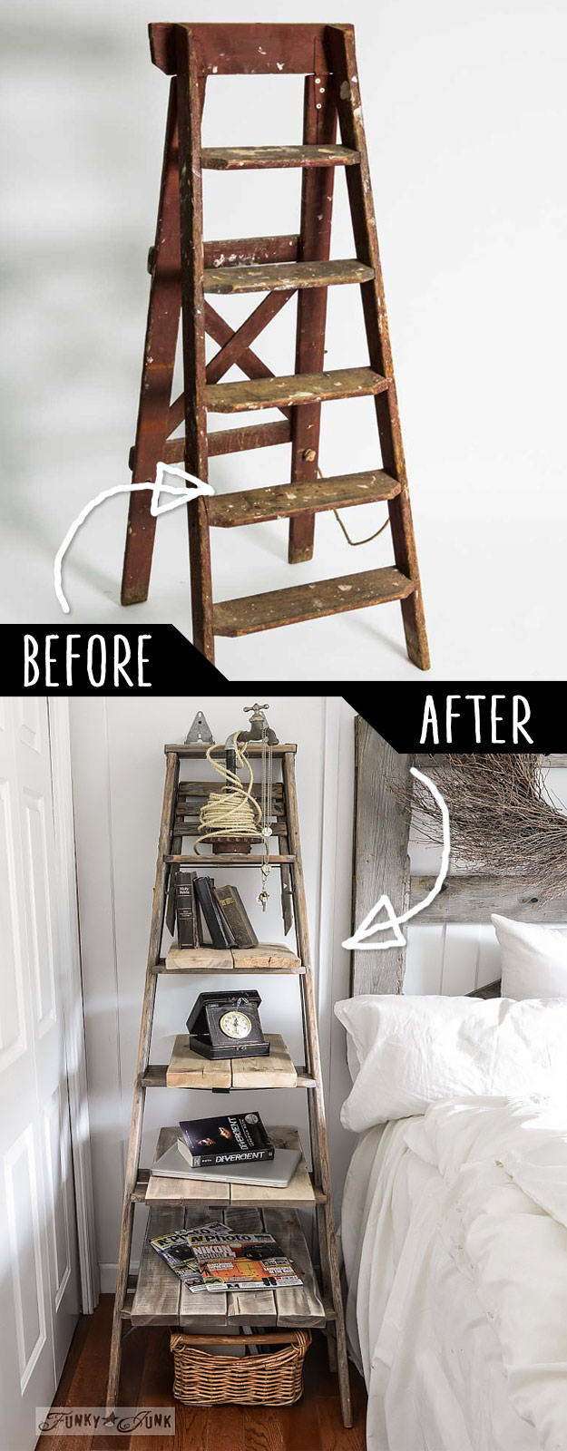 DIY Furniture Hacks   Step Ladder Side Table   Cool Ideas for Creative Do It Yourself Furniture Made From Things You Might Not Expect #diy