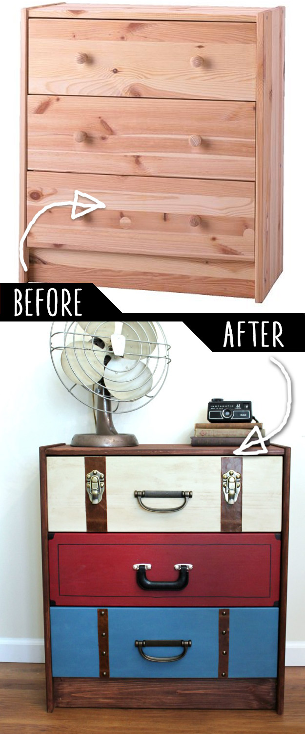 DIY Furniture Makeovers - Refurbished Furniture and Cool Painted Furniture Ideas for Thrift Store Furniture Makeover Projects | Coffee Tables, Dressers and Bedroom Decor, Kitchen | Suitcase Dresser Hack #diy #furnituremakeover #diyfurniture