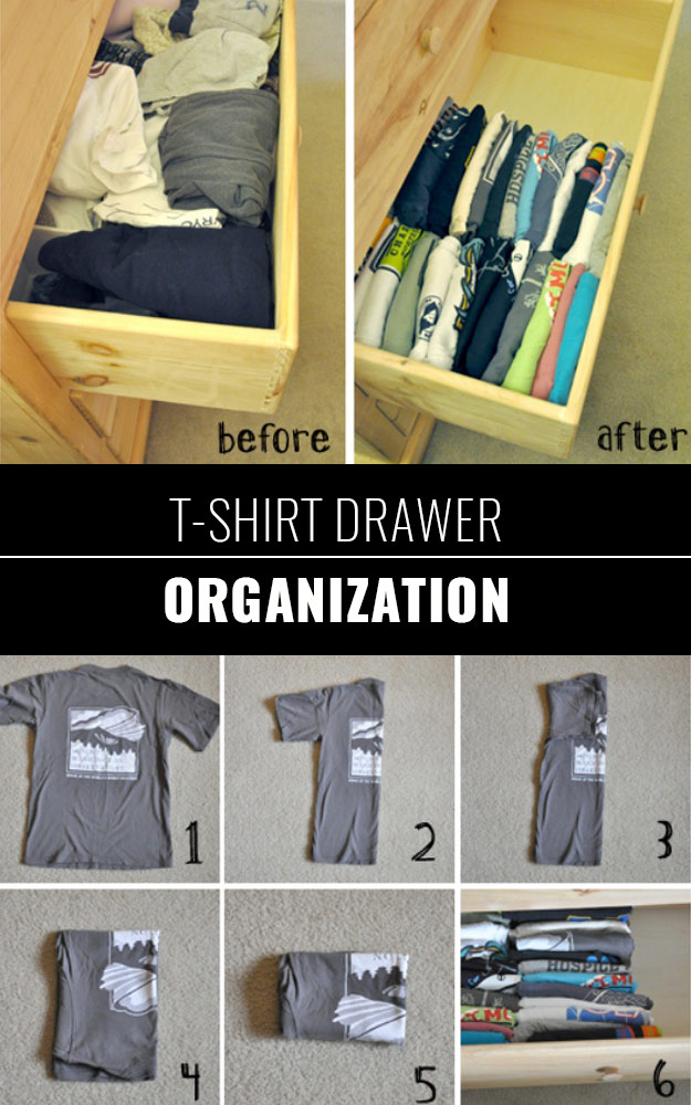 DIY Closet Organization Ideas for Messy Closets and Small Spaces. Organizing Hacks and Homemade Shelving And Storage Tips for Garage, Pantry, Bedroom., Clothes and Kitchen | T-Shirt Drawer Organization #organizing #closets #organizingideas